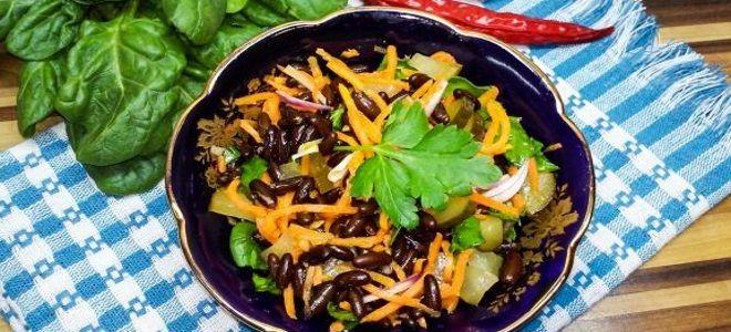 салат с фасолью и корейской морковкой постный
