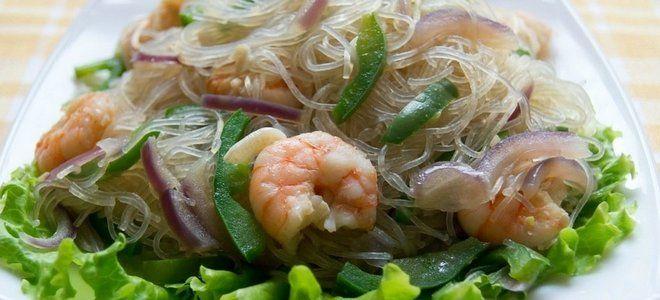 салат с фунчозой и креветками рецепт