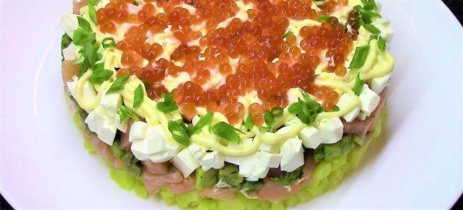 салат с семгой слабосоленой и авокадо