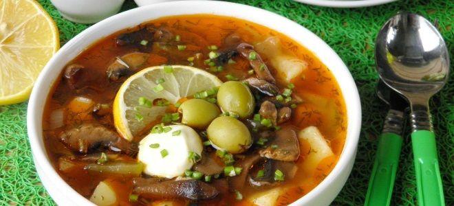 Сборная солянка с грибами и колбасой