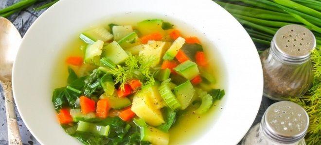 суп из сельдерея стеблевого и шпинатом