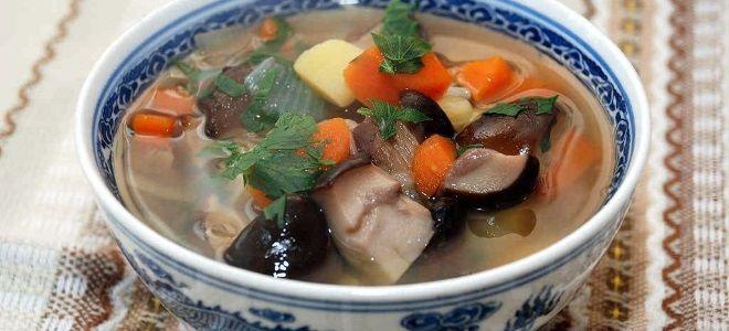 Суп из соленых грибов постный