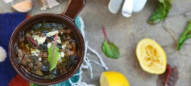 суп с чечевицей и мангольдом постный