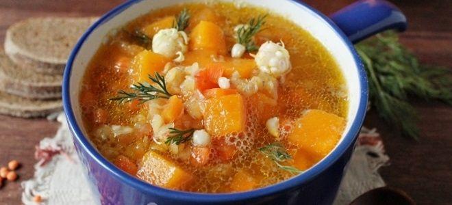 суп с чечевицей и тыквой постный