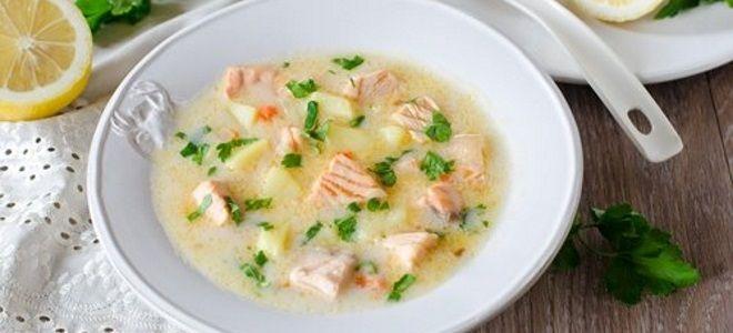 суп с горбушей и плавленным сыром