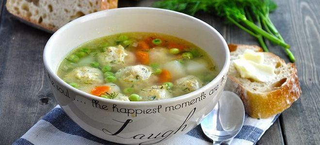суп с моцареллой и куриными фрикадельками