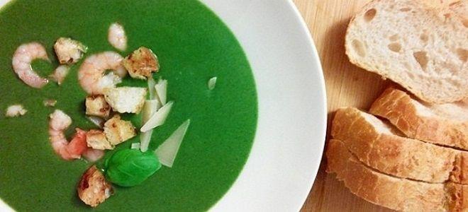 суп со шпинатом и креветками