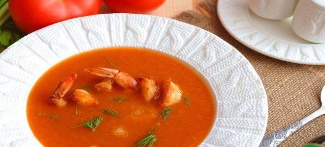 томатный суп пюре с креветками
