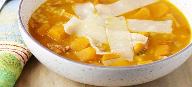 Тыквенный суп с рисом и курицей