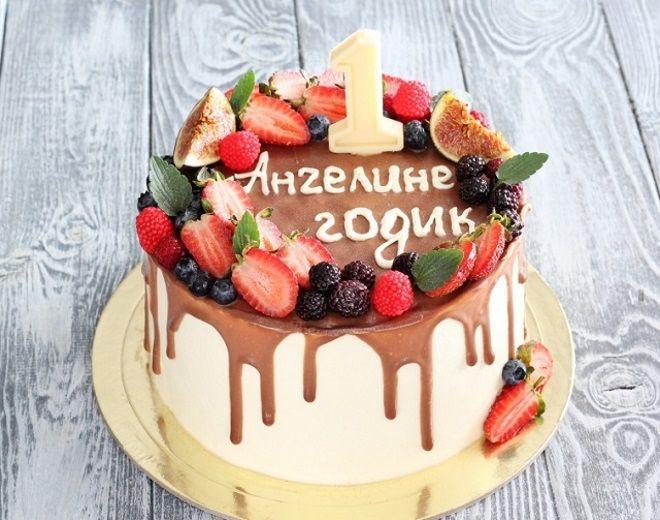 Украшение детского торта с ягодами