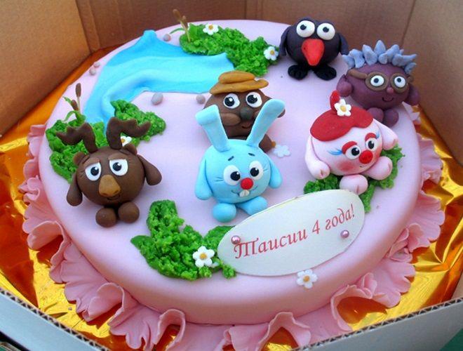 Украшение детского торта Смешарики из мастики для декора торта