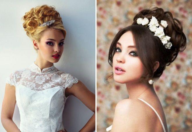 высокие прически на свадьбу на средние волосы