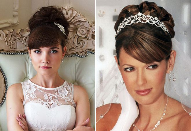 Прическа с челкой на свадьбу фото