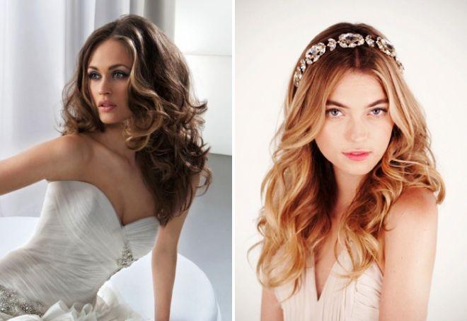 распущенные свадебные прически на средние волосы