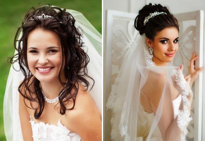 прическа невесты с фатой на средние волосы