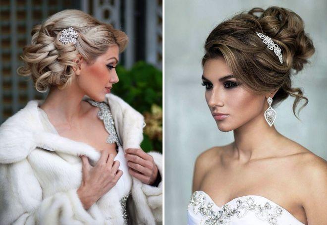 модные свадебные прически на средние волосы