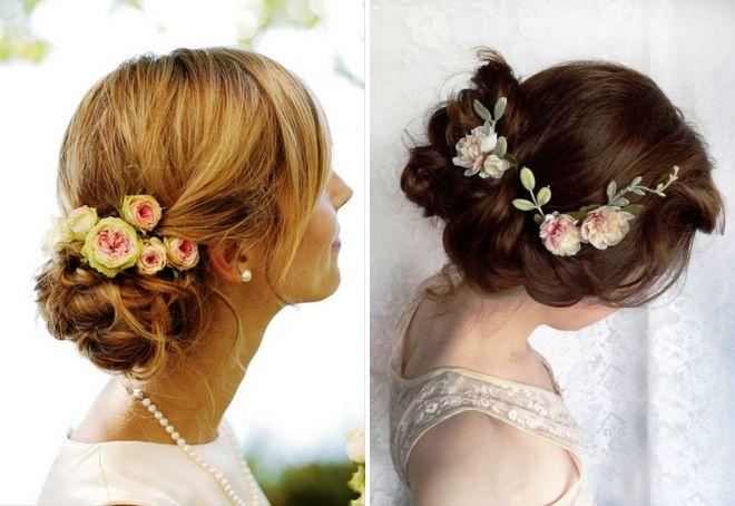 прически с цветами на средние волосы на свадьбу