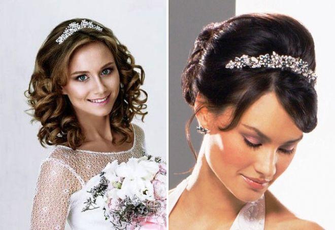 прическа невесты на средние волосы с диадемой