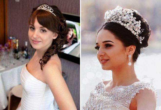 Прически свадебные на средние волосы с короной
