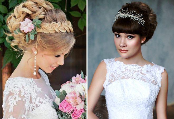Свадебная причёска на средние волосы фото с челкой