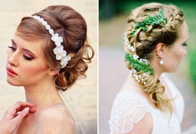 укладка на свадьбу на средние волосы