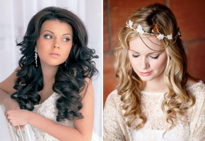 свадебные локоны на средние волосы