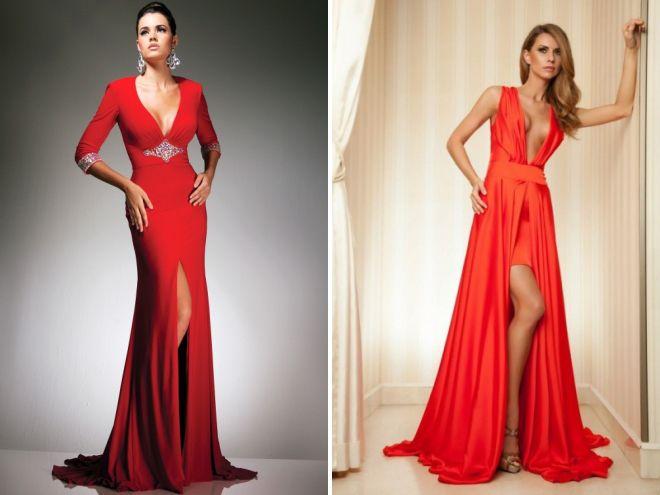 Платье красное с разрезом от бедра