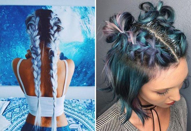 цветные косы тренд 2017