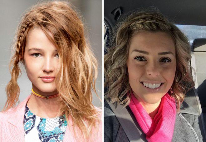 прически с косами для коротких волос 2017