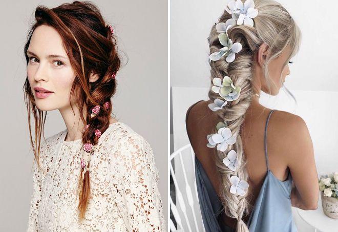 Объемная коса с цветами фото