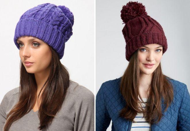 Самые модные вязаные шапки для женщин – объемные, с ...