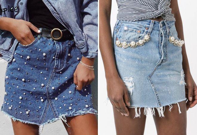 джинсовые юбки 2018 года модные