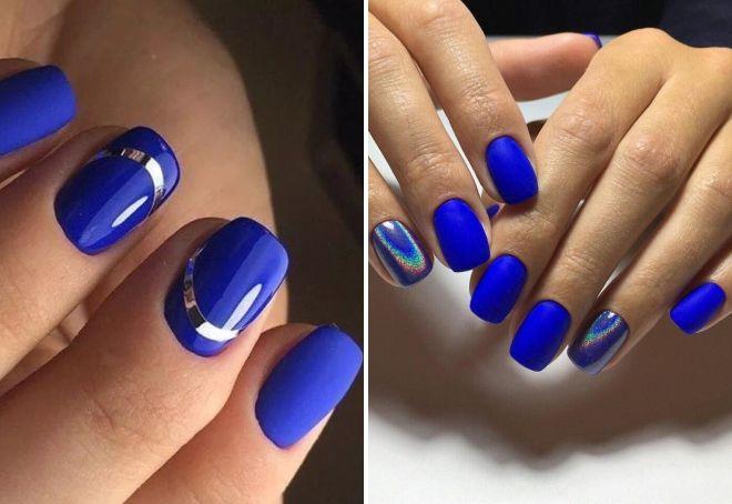 синий маникюр 2017