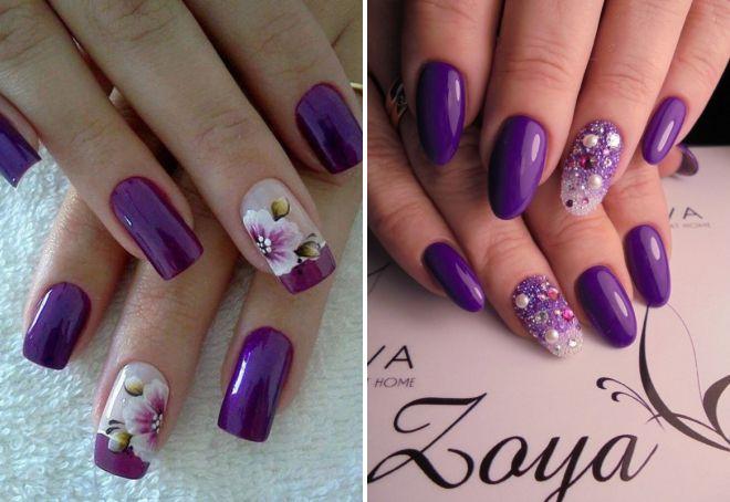 Фиолетовый маникюр 2017