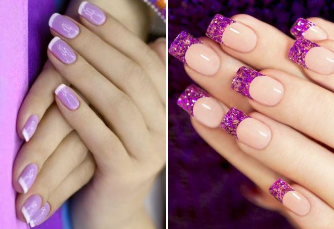 Фиолетовые ногти с белым френчем