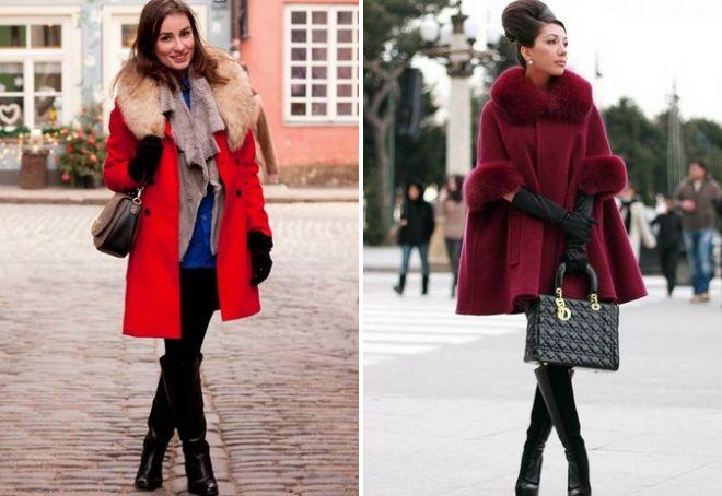 зимнее пальто из кашемира с капюшоном