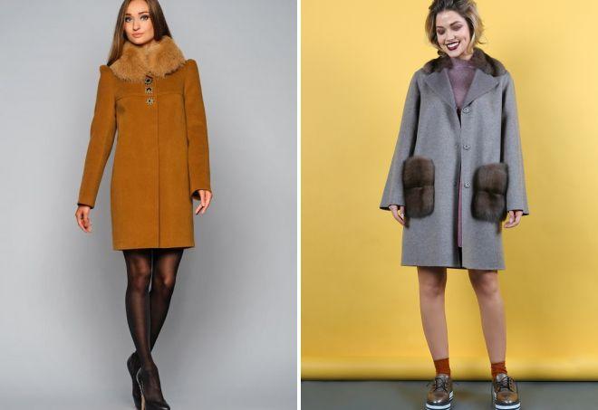 пальто из кашемира с мехом