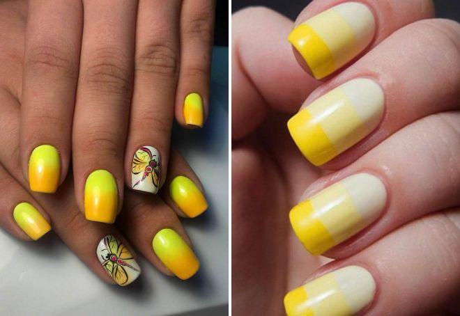 желтый маникюр градиент 2017