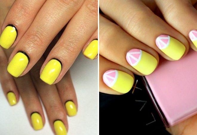 желтый маникюр на короткие ногти 2017