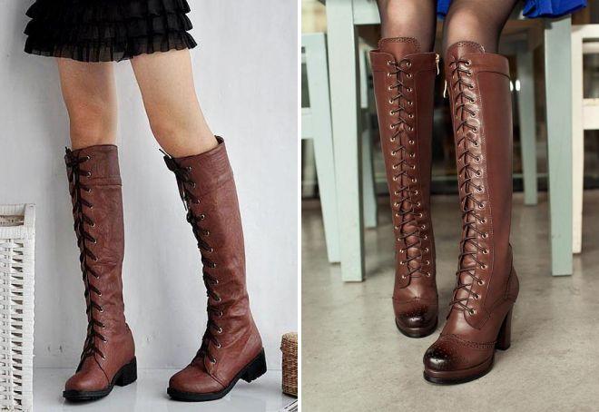 коричневые сапоги со шнуровкой