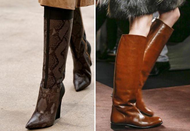 коричневые кожаные сапоги