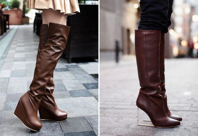 женские сапоги коричневого цвета