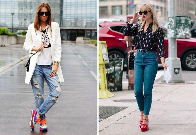 модные образы с джинсами 2017