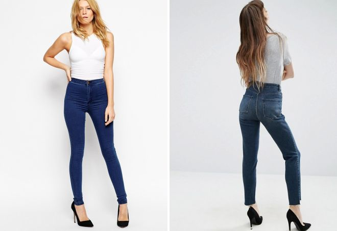 синие джинсы с завышенной талией