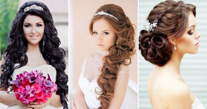 Простые прически на свадьбу с распущенными волосами