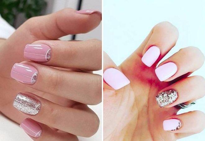 розовый маникюр с блестками на короткие ногти