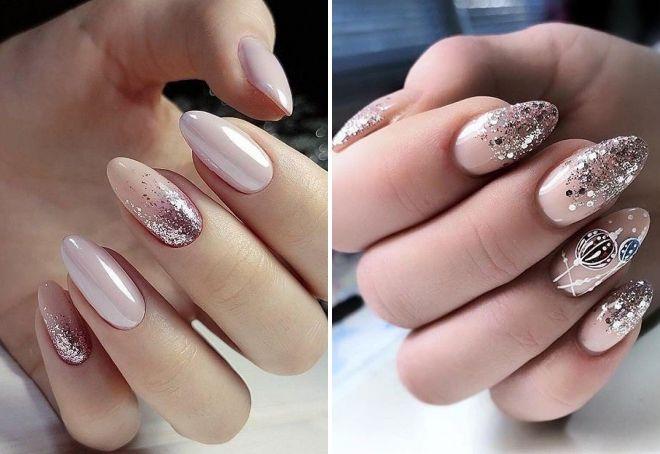 розовый маникюр с блестками на длинные ногти
