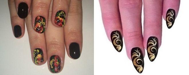 роспись хохлома на ногтях