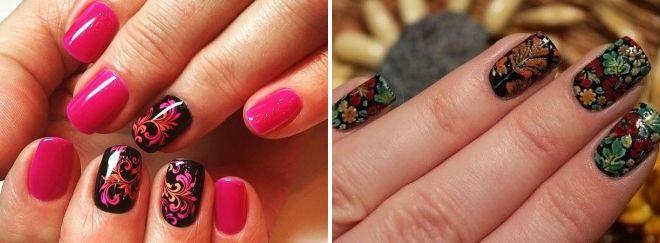 красивая роспись на ногтях хохлома