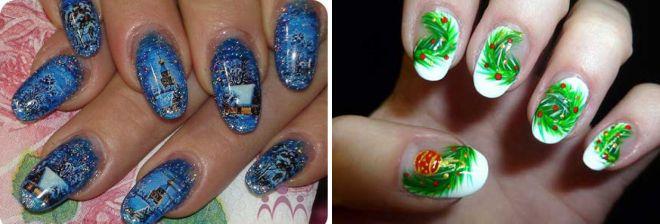 новогодняя роспись ногтей
